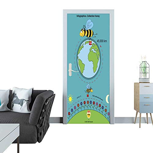 Anmaseven Glass Door Sticker Decals Infographics Collection Honey Sticker for Door 30x79(77x200 -