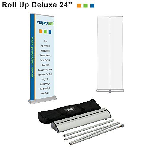 Vispronet - 24in. x 81in. Retractable Banner Stand Height-Adjustable for Trade Shows, Retail Displays and More - Stand Only, No Banner