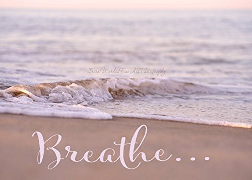 Breathe Wall Art Decor, Inspirational Print Wall Art, Beach Photography, Pink Ocean Artwork, Coastal Wall Art, Nautical Bathroom or Bedroom Decor, Meditation Room Art by Natural Photography Spa