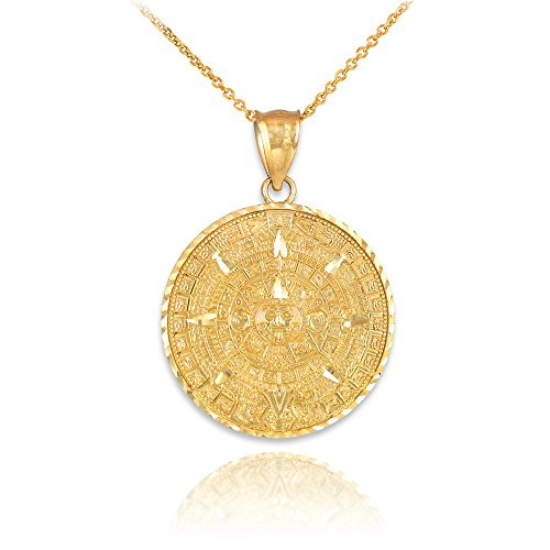 14k Yellow Gold Aztec Charm Mayan Calendar Pendant Necklace, 20