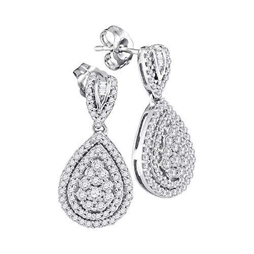 10kt White Gold Womens Round Diamond Teardrop Dangle Earrings 7/8 Cttw