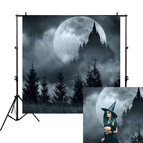 Allenjoy 6x6ft Halloween Misty Night Woods Photography Backdrop Black Castle with Big Moon Scary Scene Background Mystery Horrible Birthday Party Banner Family Home Portrait Decorations Photo Studio