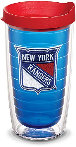 Tervis 1087457 NHL New York Rangers Primary Logo Tumbler with Emblem and Red Lid 16oz, Blue (New York Rangers Tumbler)