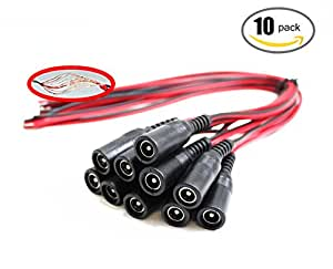 OdiySurveil(TM) 10 inch(30cm) 2.1 x 5.5mm DC Power Pigtail Female Cable (Pack of 10)