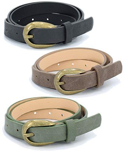 Trio Set Skinny Belts With Metal BucklePack Of 3 Pcs Women's Belts