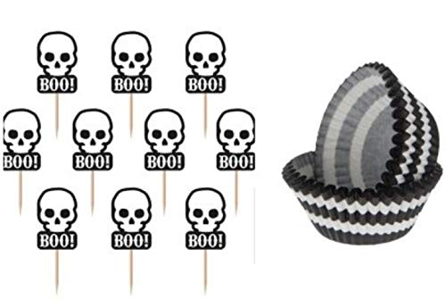 S&C Halloween 36 Skull Cupcake Toppers and 50 Cupcake Liners Decorations, Party Supplies Bundle