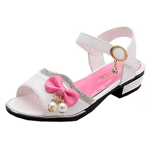 Patent Peep Toe Bow - Vokamara Girls' Peep Toe Patent Leather Rhinestone Bow Low Heel Sandals J-White 37