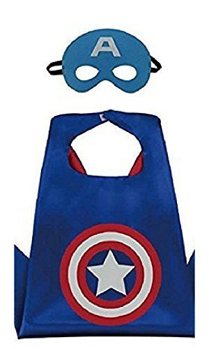 Honey Badger Brands Dress Up Comics Cartoon Superhero Costume with Satin Cape and Matching Felt Mask, Captain America ()