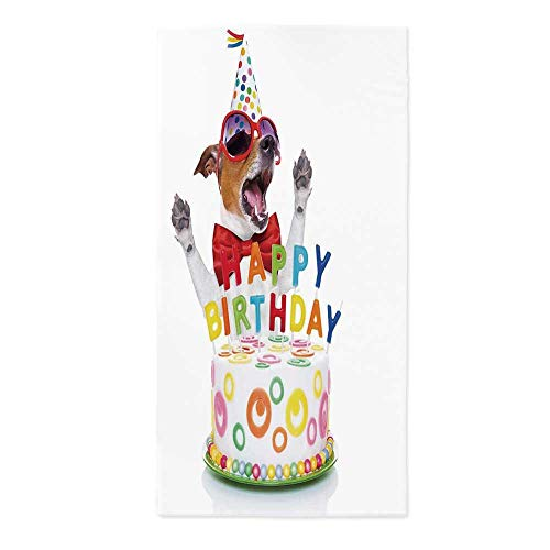 Birthday Decorations for Kids Printed Tablecloth,Party Dog at Suprise Birthday Party with Cone Hat and Glasses for Rectangle Table Kitchen Dinning Party,24''W X 48''L