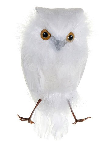 6.5 inch white feathered snow owl ornament