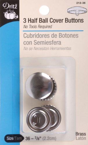 Dritz Half Ball Buttons, 7/8 Inch Size 36 3/Pkg. (Dritz Half Ball)