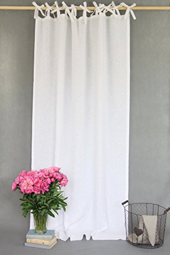 Homey white tie top curtains / made of linen / scandinavian design / linen drapes