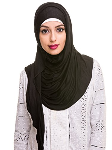 Kashkha Women's Ready To Wear Instant Hijab Scarf , Black, 22inches Width*77inches Length /(55cm*200cm)
