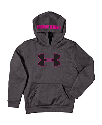 Kids Under Armour Boys Armour Fleece Storm Big Logo Hoody, Carbon Heather/Tropic Pink/Open Grey, S