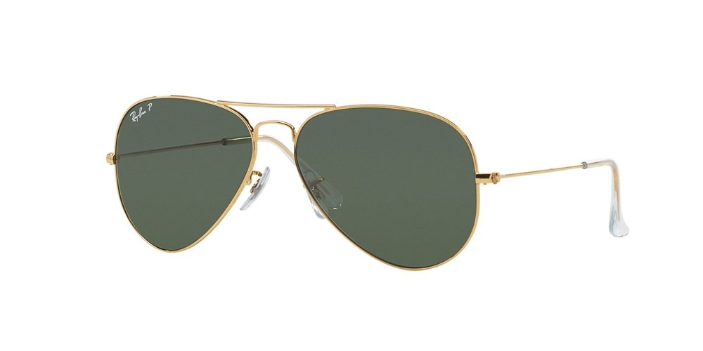 Ray-Ban RB 3025-001/58 Arista Large Metal Aviator Sunglasses with Natural Green Polarized Lenses 62mm by Ray-Ban