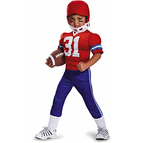 Toddler Boys Muscle Football Player Costume with Muscle Uniform & Helmet 3-4T