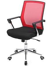 SONGMICS Kontorsstol med nätlock, höjdjusterbar chefsstol, skrivbordsstol med gungfunktion, snurrstol med vadderad sits, stålram, förkromad, 150 kg, rödsvart OBN83RD