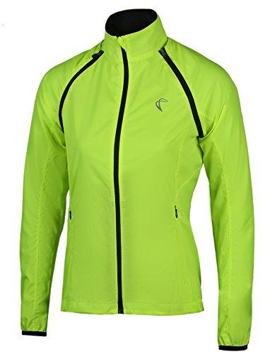 Womens Convertible Wind Jacket (RunAlp Convertible Women Cycling Jacket Windproof Water Resistant Softshell Yellow)
