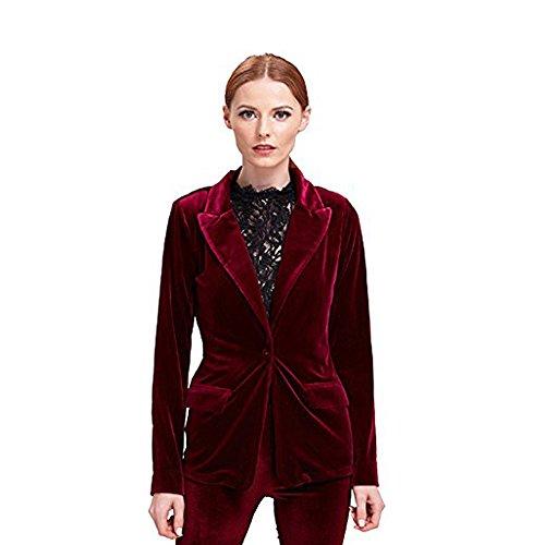 Velvet Winter Coat - BELLA PHILOSOPHY Women's Velvet Blazer Jacket Warm Coat One Button Outwears Turn-down Collar Top Suit (XL, Winered)