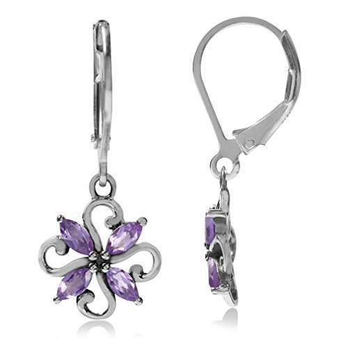 Natural Amethyst White Gold Plated 925 Sterling Silver Victorian Style Flower Leverback Earrings (Victorian Style Amethyst Earrings)