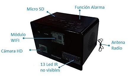 Camara espia en radio Reloj Despertador WIFI IR y deteccion ...