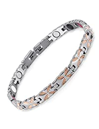 Womens Lifestyle Stainless Steel Magnetic Therapy Bracelet for Women Pain Relief for Arthritis and Carpal Tunnel Magnets, far Infrared, Germanium, Negative Ion as Health Care Elements