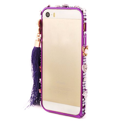 Mavis's Diary Luxury Handmade Bling Crystal Diamond Heart Butterfly Four Leaf Clover with Tassel Aluminum Metal Phone Bumper Frame with Soft Clean Cloth for Iphone 5 5S (Purple)
