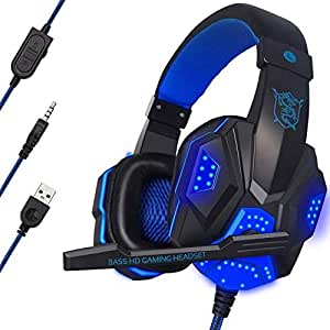 LED Light Gaming Headphone Headset Stereo Over-ear Headband Mic for Laptop Computer, Cellphone PS4