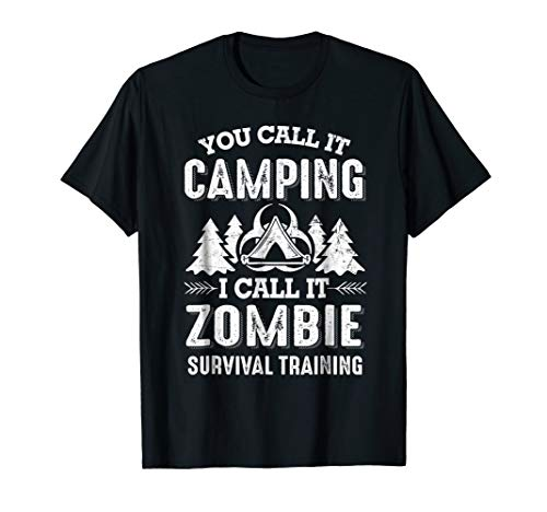 Camping Zombie Survival Training funny halloween t-shirt