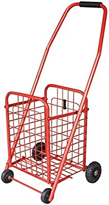 Trolley Portable Folding Shopping Large Capacity Luggage Cart,Red