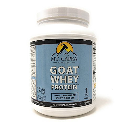 MT. CAPRA SINCE 1928 Goat Whey Protein Grass-Fed Undenatured Whey Protein Powder from Pastured Goats, High in Branch Chain Amino Acids, Natural Vanilla – 1 Pound