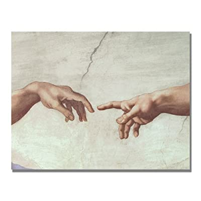 Trademark Art Hands of God Canvas Art by Michelangelo - Canvas Art, Ready to Hang Canvas Gallery Wrapped Around Hidden Wooden Frame 18x24-inch - wall-art, living-room-decor, living-room - 417RXT%2BQhIL. SS400  -