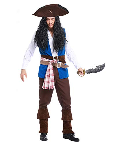 HDE Men's Pirate Costume Adult Sized Cutthroat Caribbean Buccaneer Halloween Party Outfit and Hat (Large)