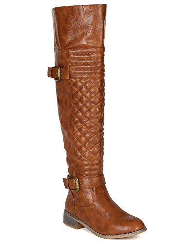 Nature Breeze Women Leatherette Quilted Knee High Riding Boot BF20 - Tan (Size: 6.0)