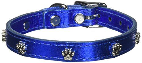 (OmniPet Signature Leather Dog Collar with Paw Ornaments, Metallic Blue, 14