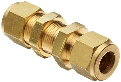 Parker A-Lok 6BC6-B Brass Compression Tube Fitting, Bulkhead Union, 3/8