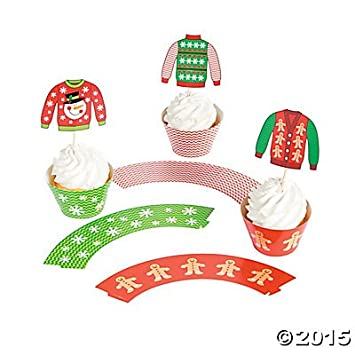 Ugly Christmas Sweater Cupcake Wrappers with Picks - Makes 50