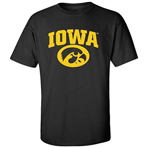 - CornBorn Iowa Hawkeyes Tee Shirt - Arched Iowa with Tigerhawk Oval - Black - 5X