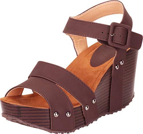 Cambridge Select Women's Strappy Studded Chunky Platform Wedge Sandal,7 B(M) US,Chocolate - Juniors Chocolate Sandals