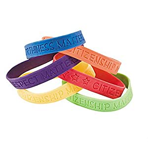 """24 ~ Good Character Rubber Bracelets ~ Approx. 7"""" ~ Assorted Colors / Sayings ~ New"""