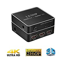 LESHP 1x2 HDMI Switch Splitter, 1 in 2 out Repeater Amplifier Box Hub with Power Adapter, Support 3D & Full Ultra HD 4K/2K, Capable for PS4 Xbox STB Desktop Blu-ray Player