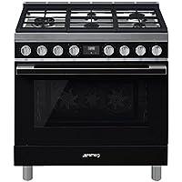 Smeg Portofino CPF36UGMBL 36x 25, 4.5 cu. ft. Oven Freestanding Pro-Style Dual Fuel Range, Black