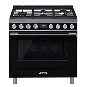 Smeg Portofino CPF36UGMBL 36''x 25'', 4.5 cu. ft. Oven Freestanding Pro-Style Dual Fuel Range, Black 4