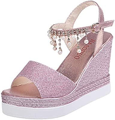 b3f28799e Amazon.com: ❤ Mealeaf ❤ Women Ladies Fashion Wedges Crystal Causal Shoes  Super High Shoes Sandals (Pink,39): Home & Kitchen
