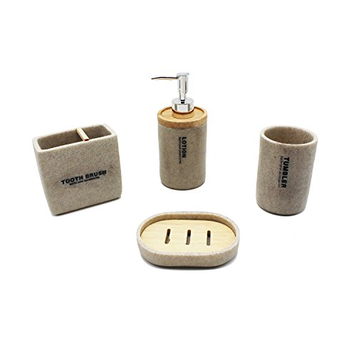 Resin Bathroom Accessories Set – 4 Piece Luxury Heavy Duty Bath Ensemble Set Includes Decorative Countertop Soap Dispenser, Toothbrush Holder, Tumbler and Soap Dish – Elegant Home Décor Gift