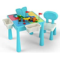 JADE Kids Multi-Functional Educational Block Table and Chair Set – Kids Multi Activity Building Block Table with Storage; kids table and chai (Table and Chair Set)