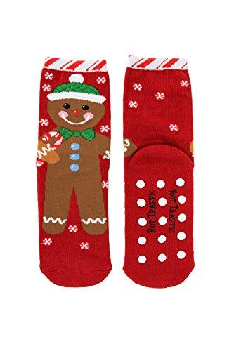 Foot Traffic Womens Slipper Socks, Non-Slip Comfort, Gingerbread Man (Size 4-10) ()