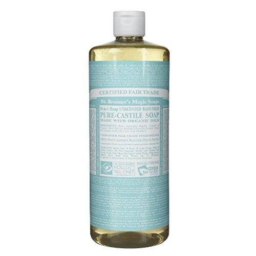 Dr. Bronner's 18-in-1 Hemp Pure-Castile Soap, Baby Mild Unscented 32 oz (Pack of 4) by Dr. Bronner's