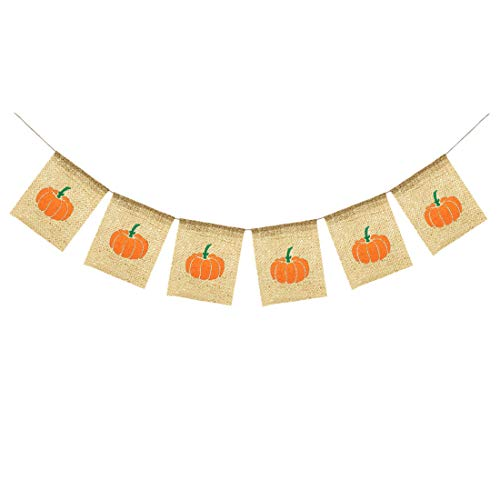 Uniwish Little Pumpkin Banner Baby Shower Halloween Thanksgiving Party Decorations, Vintage Rustic Burlap Bunting Happy Fall Yall Décor Photo Props