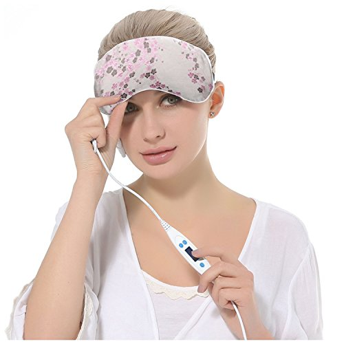 EYEHELP Heated Eye Mask with USB Temperature Control and Timing Eyeshade Lavender Flavor Scented Silk Night Sleeping Hot Steam Eye Cover (Gray)